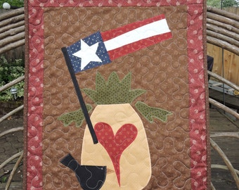 "Appliqued Quilted Wall Warmer with Primitive Pineapple, Flag and Crow   25.5"" x 20"""