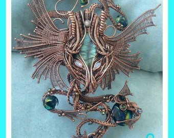 Dragon arm cuff  - copper Wirework, wire wrapped arm cuff with removeable pendents