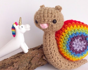 Rainbow crochet snail. LGBT Snail. LGBTQ+ gift. Gift for gardener. Decorative snail ornament. Pride gift. Coming out present. MADE to Order