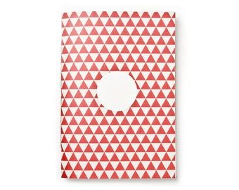 Notebook DIN A5 red beige with triangles, hand