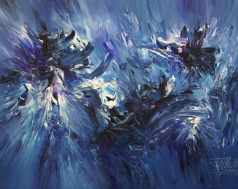 Blue abstract painting, large, modern art by Peter Nottrott