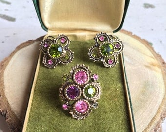 Signed Sarah Coventry Ring & Earring Set