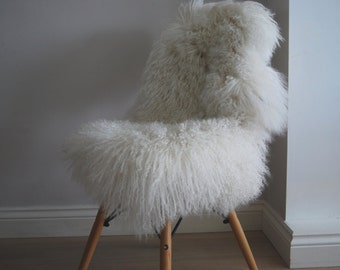 Ivory Tibetan Sheepskin Rug Throw Mongolian Superior Pelt Long Hair Luxury