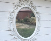 Ornate Mirror, Baroque Mirror, Large Wall Mirror, Bright White Picture Frame, Shabby Cottage Chic Oval Mirror Bathroom Nursery Mirror