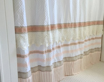 Pink Shabby Chic Shower Curtain Girls Bohemian Bathroom French Lace Shower Curtain