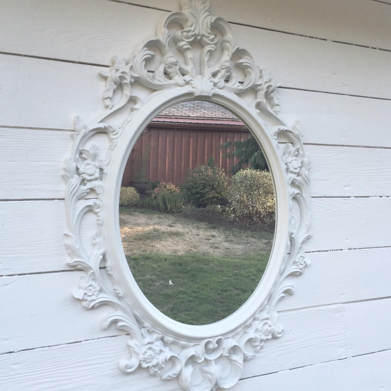 White bathroom mirror shabby chic oval mirror nursery for Baroque bathroom mirror