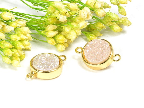 AB Druzy Connector, Round Druzy in AB color, Natural Titanium Agate Drusy Gemstone Jewelry  - 1 pc/ pkg