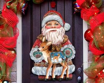 Holiday Fawn Wooden Decorative Door Hanger 8118081H