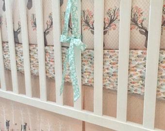 Little Oasis Custom Woodland Fawn Deer Crib Bedding. Choose what you need: crib sheet, skirt, blanket, changing pad, pillow, valance