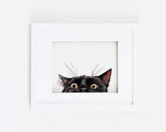 Matted 11x14 Watercolor Peeking Cat Print