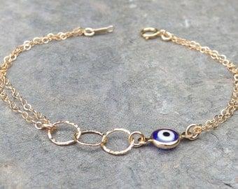 Evil eye bracelet Gold evil eye  Gold evil eye bracelet Blue evil eye, Protection bracelet, Eye bracelet,Evil eye eternity bracelet