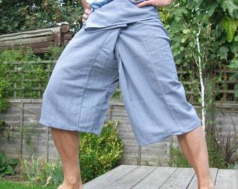 SHORT Thai FISHERMAN Pants 100% cotton  classic PINSTRIPE  with side pocket 3/4 length
