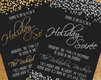 Customized Gold/Silver Glitter Holiday/Christmas Party Invite - Digital File
