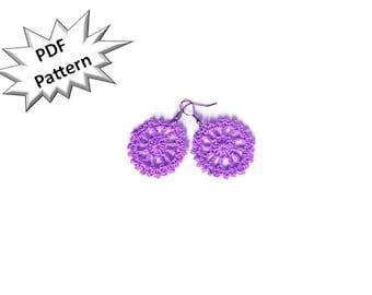 Crochet pattern earrings cart wheel modern dangler earrings.
