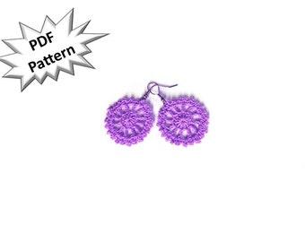 DIY pdf pattern for crochet cart wheel modern dangler earrings.