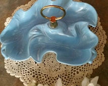 Blue Leaf Dish Vintage Ceramic Divided Serving Tray with Brass Handle French Cottage Chic Home Decor Candy Appetizer Nuts Trinket Dish