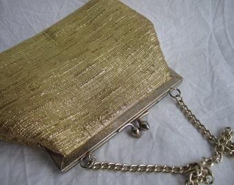 1960s gold fabric evening bag, vintage