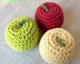 Realistic Play Fruit - Apple - Amigurumi Soft Toys - Hand crocheted with Cotton