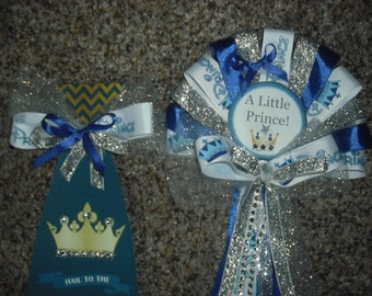 It's A Boy Prince & Tie Silver  Baby shower pin on corsage for mommy and daddy To Be