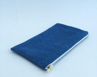 Small Denim Zipper Pouch. Medium Blue Jeans Cotton Fabric with Gold Zipper.