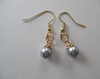 Storm Sky Faux Pearl Earrings