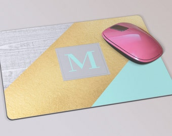 Fabric Mousepad, Mousemat, 5mm Black Rubber Base, 19 x 23 cm - Turquoise and Gold MonogramTurquoise Grey and Gold Monogram Mousepad Mousemat