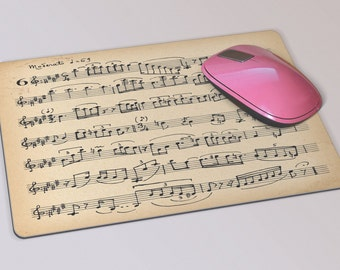 Fabric Mousepad, Mousemat, 5mm Black Rubber Base, 19 x 23 cm -Vintage Italian Sheet Music Mousepad Mousemat