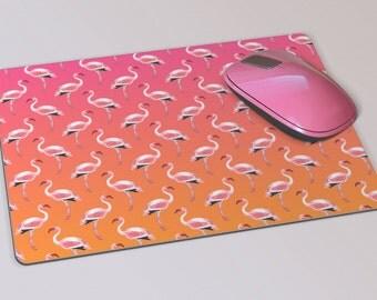 Fabric Mousepad, Mousemat, 5mm Black Rubber Base, 19 x 23 cm - Pink Flamingo Design Patterned Mousepad Mousemat