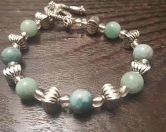 Genuine Amazonite Beaded Bracelet w/ Silver Accents
