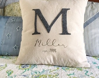 Initial pillow, Wedding Date Gift, Anniversary Gift, monogram pillow, Personalized Couple Gift