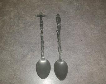 Pair of Vintage Inuit Spoons. Totem. Eskimo. Souvenir.