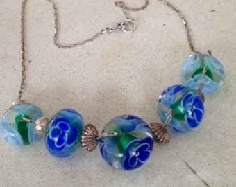 Venetian Hand Blown Glass, Sterling Silver Necklace. Blues and Greens. Gorgeous Beads and Chain.