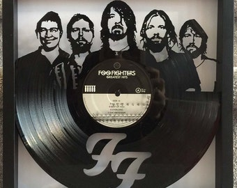 "Foo Fighters ""Greatest Hits"" cut framed vinyl LP record art collectible gift"