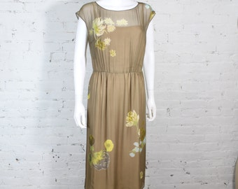 1960s Adele Simpson Dress Silk Chiffon Floral Illusion Wiggle Mad Men M