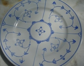 antique fine german Kalk porcelain plate  blue and white german porcelain plate