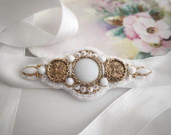 Bead Embroidered Bridal Headband, White and Gold Headband, Wedding Headpiece