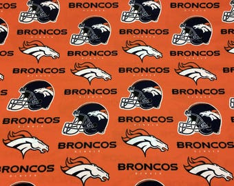 "DENVER BRONCOS nfl 60"" Cotton Fabric By The Yard All Over Orange Print Fabric Traditions"