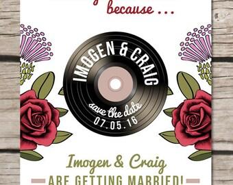 Thistle & Rose Save The Date Wedding Vinyl Magnet