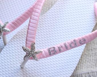 Light pink Flip Flops, gift for bride, bridal shower gift, wedding party favor, Blush pink sandals, honeymoon gift, dancing shoes, Pale pink