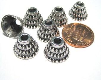 20pcs Antique Silver Cone Bead Caps Tassel Caps Kumihimo Caps