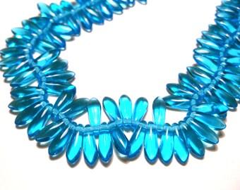 25pcs Transparent Sky Blue Czech Pressed Glass Beads 10x3mm top-drilled Dagger Glass Beads