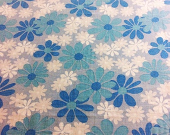 1970s mod blue floral fabric Scandinavian design fabric