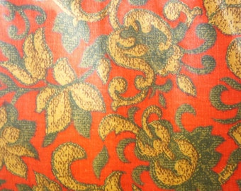 1 3/4 Yards of Vintage Floral Scroll Print Cotton Fabric - Lava Red, Tan, and Earthy Green