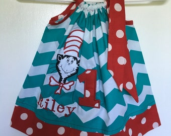 Custom Made Pillowcase Dress- turquoise Chevron  with Dr.Seuss Applique w/Red Polka Dot Hem & Ribbon-Size 9 mos -8 y/o