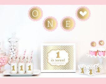 Gold & Glitter Girl 1st Birthday Party Decor Kit