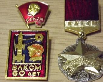 Vintage soviet badge medal (icon) VLKSM USSR 1970s