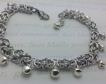 Byzantine chain maille anklet / ankle chain with silver bells
