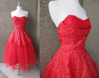 50s Red Tulle Strapless Prom Dress Cupcake Full Skirt Rockabilly Party Dress XS