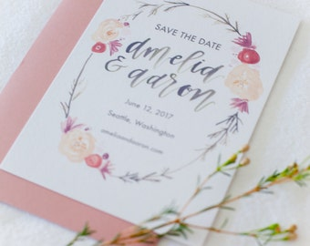 Hand-Lettered Calligraphy Wedding Save the Date - Aaron and Amelia Style