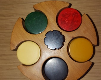 Vintage poker chip caddy with bakelite chips - PRICE INCLUDES SHIPPING